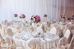 Wedding table beautifully decorated with flowe Stock Image