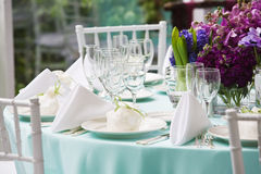 Wedding table with bouquet Stock Photo