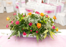 Wedding table with bouquet of flowers Stock Photo