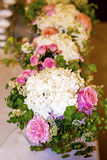 Wedding table with Bouquets with pink roses and hydrangea. A Beautiful Wedding Day Bouquet with white roses Stock Photography