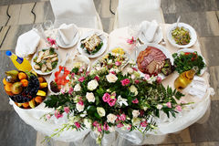 Wedding table for the bride and groom Stock Images