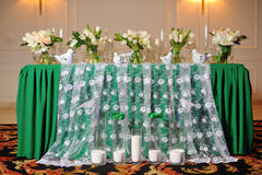 Wedding table. Bride and groom Royalty Free Stock Photos