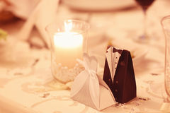 Wedding table candle decoration Royalty Free Stock Image