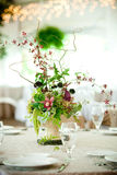 Wedding table centerpiece. Wedding table set for fine dining or other catered event Royalty Free Stock Photos