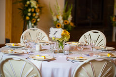 Wedding Table Centerpieces with Flowers Royalty Free Stock Photo