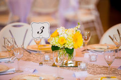 Wedding Table Centerpieces with Flowers Royalty Free Stock Images