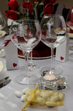 Wedding table with close up on wine glasses. Royalty Free Stock Photo