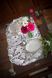 Wedding table with a cross Stock Image