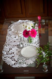 Wedding table with a cross Royalty Free Stock Photography