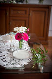 Wedding table with a cross Stock Images