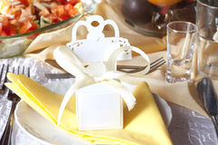 Wedding table cutlery and gift box Stock Images