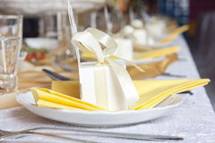 Wedding table cutlery and gift box Royalty Free Stock Photography