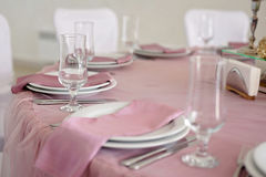 Wedding table decor. Beautiful  set for an event party or  reception. Wedding table decor. Beautiful table set for an event party or wedding reception white Stock Photo
