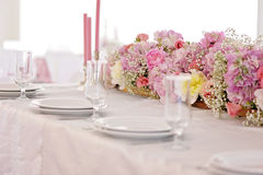 Wedding table decor. Beautiful  set for an event party or  reception. Wedding table decor. Beautiful table set for an event party or wedding reception white Royalty Free Stock Photo