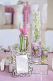 Wedding table decor. Beautiful  set for an event party or  reception. Wedding table decor. Beautiful table set for an event party or wedding reception white Royalty Free Stock Photos