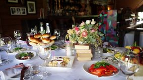 Wedding table decor and food stock footage