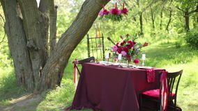 Wedding table decor at nature stock video footage