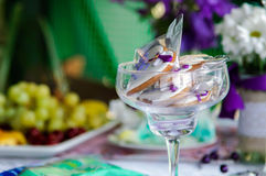 Wedding table decorated. Wedding. The decoration of the table. The scenery. Marriage. Festive day. The wedding decoration. The bride and groom. Lilac color Stock Image