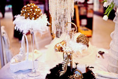 Wedding table decorated with luxury accessories  Royalty Free Stock Photo