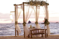 Wedding table decoration on beach Stock Photography