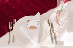 Wedding table decoration for the bride Stock Images