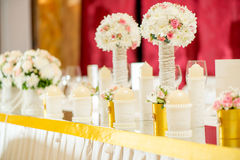 Wedding Table Decoration. With candle, flowers and glassware Stock Image