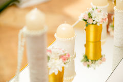 Wedding Table Decoration. With candle, flowers and glassware Stock Images