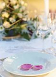 Wedding table decoration closeup royalty free stock images