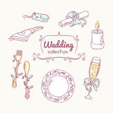 Wedding table decoration in doodle style. Hand drawn celebration clip art. Vector illustration Stock Images