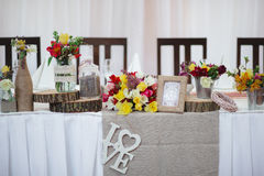 Wedding table decoration elements for a nice lovely banquet Stock Image