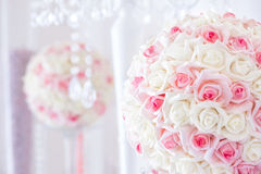 Wedding table decoration and floral centerpiece stock photos