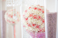 Wedding table decoration and floral centerpiece royalty free stock image