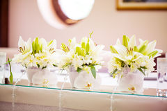 Wedding table decoration. With flowers and glassware Stock Images