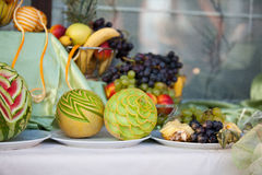Wedding table decoration with fruits Stock Photo