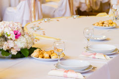 Wedding table with decoration Royalty Free Stock Photo