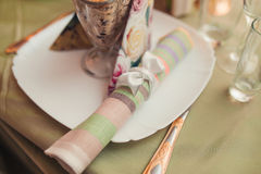 Wedding table with decoration napkin Royalty Free Stock Image