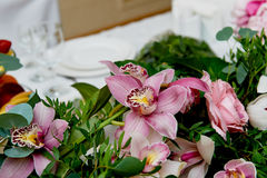 Wedding table decoration newlyweds. Songs on the table of flowers. The pink and white palette, rose, Orchid Stock Images