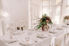 Wedding table decoration of the restaurant Stock Image