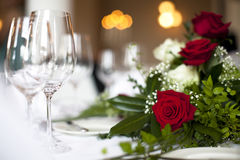 Wedding table decoration rose Royalty Free Stock Photography