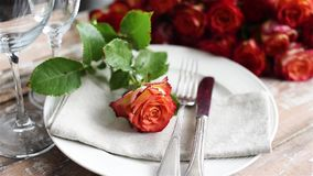 Wedding table decoration stock footage
