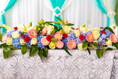 Wedding table decorations. Flower arrangement at the wedding ceremony Stock Photography