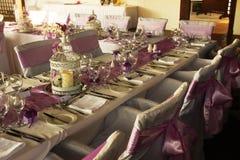 Wedding table decorations stock photo