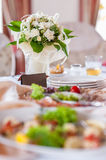 Wedding table decorations. Table set for a wedding dinner Royalty Free Stock Photo