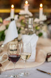 Wedding table decorations. Table set for a wedding dinner Royalty Free Stock Photos