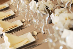 Wedding Table Detail. Closeup of place settings at a decorated wedding banquet table Royalty Free Stock Photos