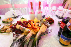 The wedding table with dishes for guests Royalty Free Stock Photo