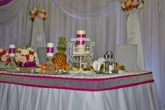 Wedding table. Festive decoration table wedding honeymoon Royalty Free Stock Images