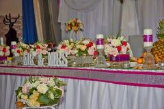 Wedding table. Festive decoration table wedding honeymoon Stock Images