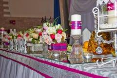Wedding table. Festive decoration table wedding honeymoon Stock Photo