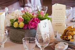 Wedding table with flower and glasses Royalty Free Stock Image